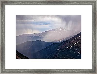 Storm Near Longs Peak Framed Print by Adam Pender