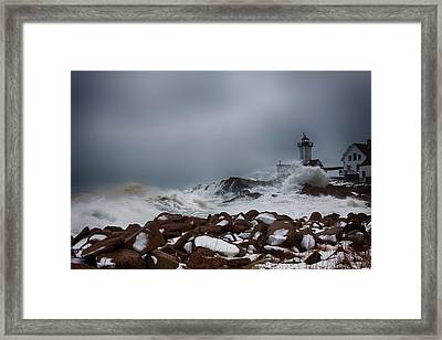 Storm Off Eastern Point Lighthouse Framed Print by Jeff Folger