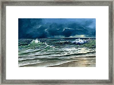 Framed Print featuring the painting Storm Off Yucatan Mexico by Lynne Wright