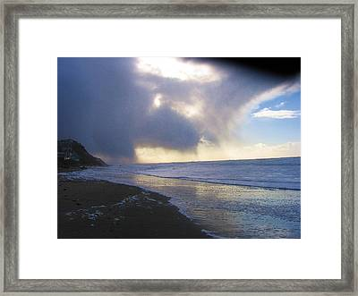 Storm On Beach Framed Print by Karen Molenaar Terrell