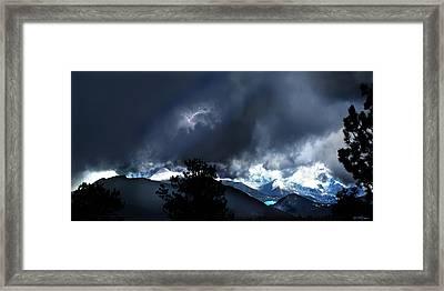 Storm On Long's Peak Framed Print by Ric Soulen
