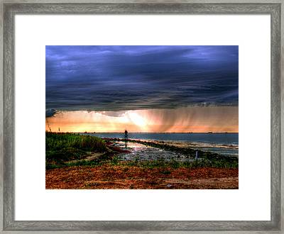 Storm On The Bay Framed Print