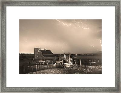 Storm On The Farm In Black And White Sepia Framed Print