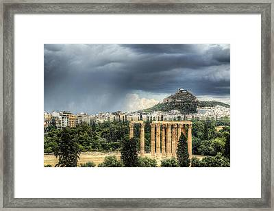 Framed Print featuring the photograph Storm Over Athens by Micah Goff