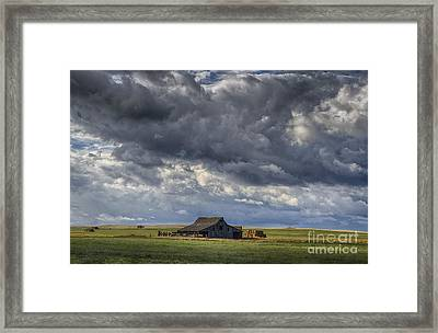 Storm Over Barn Framed Print