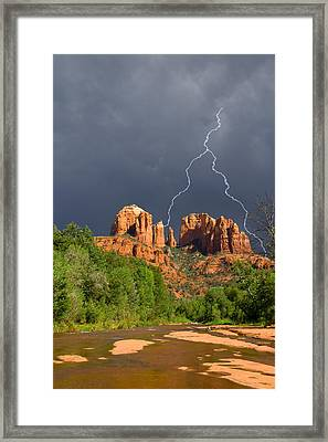 Storm Over Cathedral Rock Framed Print by Alexey Stiop
