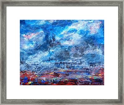 Storm Over Flower Fields Framed Print by Walter Fahmy