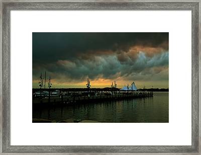 Storm Over National Harbor Oil Framed Print