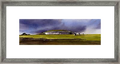 Storm Over Newgrange Framed Print by Roland Byrne