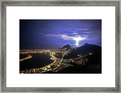 Storm Over Rio De Janeiro Framed Print by Babak Tafreshi