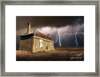 Storm Over Ruin Framed Print by Shannon Rogers
