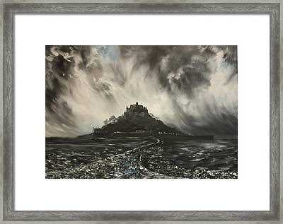 Framed Print featuring the painting Storm Over St Michaels Mount Cornwall by Jean Walker