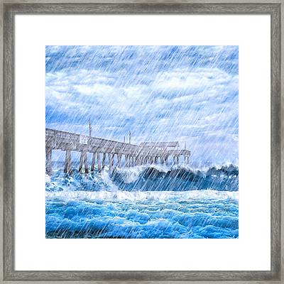 Storm Over The Sea - Tybee Pier Framed Print by Mark E Tisdale