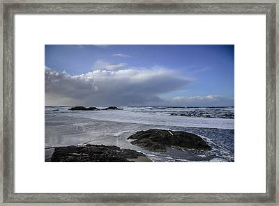 Storm Rolling In Wickaninnish Beach Framed Print by Roxy Hurtubise