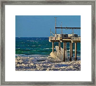 Storm Surf At Scripps Pier Framed Print by Russ Harris