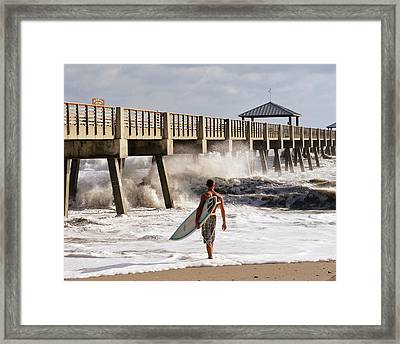 Storm Surfer Framed Print by Laura Fasulo