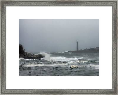 Storm Surge At Marblehead Framed Print by Jeff Folger