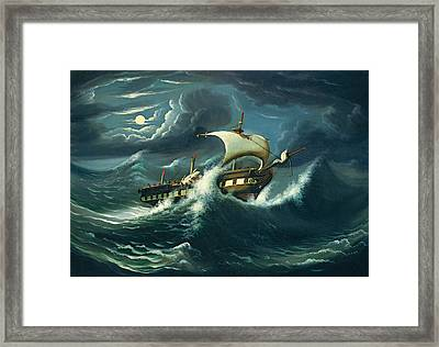 Storm-tossed Frigate Framed Print by Thomas Chambers