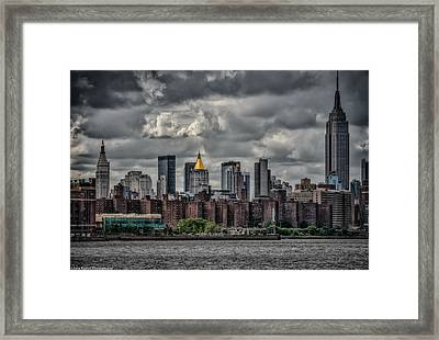 Framed Print featuring the photograph Storm Weather Over Nyc by Linda Karlin