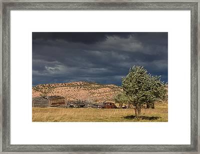 Storm Whipping Desert Homestead Framed Print