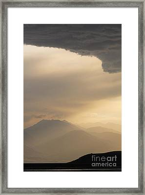 Stormclouds And Sunset Above Mountains At Toktogul In Kyrgyzstan Framed Print by Robert Preston