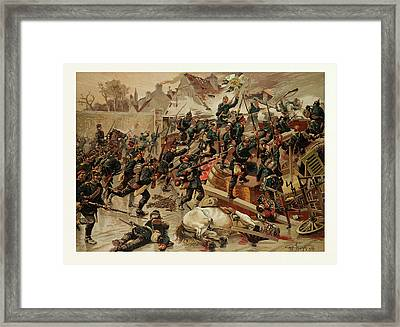 Storming Of The Great Barricade At The Entrance Of Le Framed Print by French School