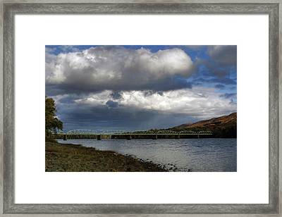 Storms Brewing Over The Old Arch Street Bridge Framed Print