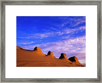 Storms Carve Sand Dunes In Peaks Framed Print by Robert L. Potts