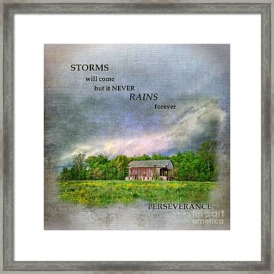 Storms Will Come Framed Print by Pamela Baker