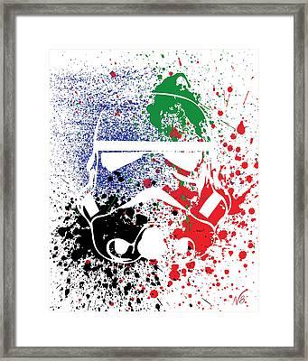 Stormtrooper Goes Splat Framed Print by Decorative Arts