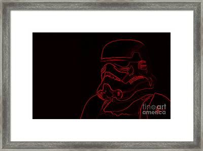 Framed Print featuring the digital art Stormtrooper In Red by Chris Thomas
