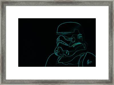Framed Print featuring the digital art Stormtrooper In Teal by Chris Thomas