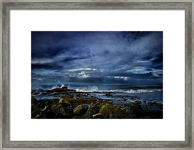 Framed Print featuring the photograph Stormy Beach by Joseph Hollingsworth