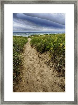 Stormy Beach Framed Print by Sebastian Musial