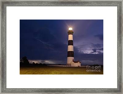 Stormy Bodie Lighthouse Outer Banks I Framed Print by Dan Carmichael