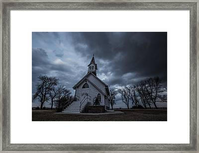 Stormy Church Framed Print by Aaron J Groen