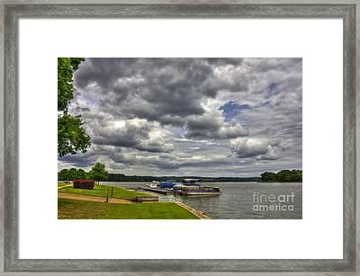 Stormy Day Dockside Lake Oconee Framed Print by Reid Callaway