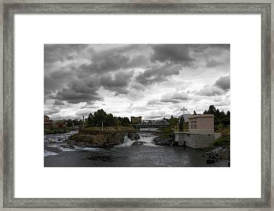 Stormy Falls Of Spokane Framed Print