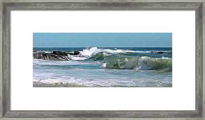Stormy Lagune - Blue Seascape Framed Print by Ben and Raisa Gertsberg