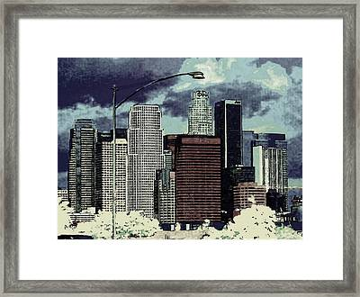 Framed Print featuring the photograph stormy Los Angeles from the freeway by Jodie Marie Anne Richardson Traugott          aka jm-ART