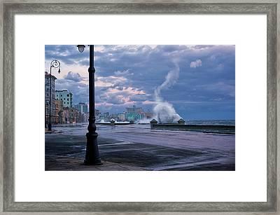 Stormy Malecon Framed Print