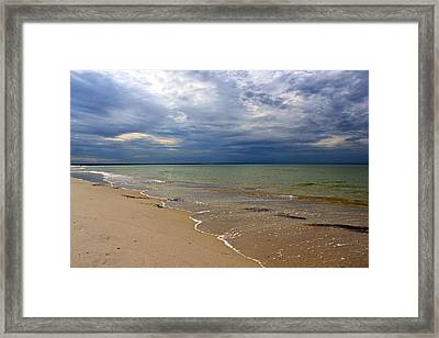 Stormy Mayflower Beach Framed Print by Amazing Jules