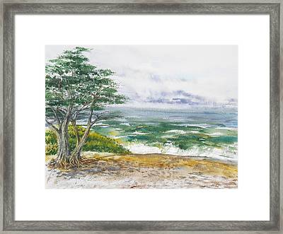 Stormy Morning At Carmel By The Sea California Framed Print by Irina Sztukowski