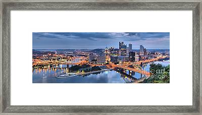 Stormy Morning Skies Over Pittsburgh Framed Print