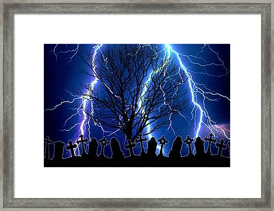 Stormy Night At The Graveyard Framed Print