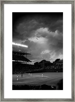 Stormy Night At Wrigley Field Framed Print