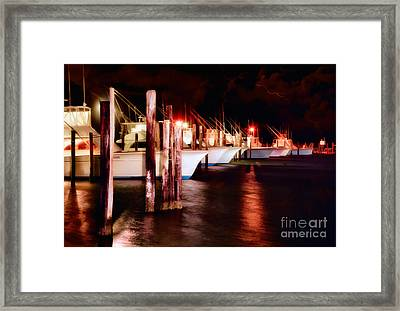 Stormy Night In The Marina - Outer Banks Framed Print by Dan Carmichael