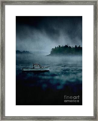 Stormy Night Off The Coast Of Maine Framed Print by Edward Fielding