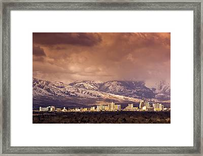 Stormy Reno Sunrise Framed Print by Janis Knight