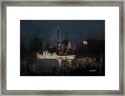 Stormy Seas Moonrise Return Framed Print